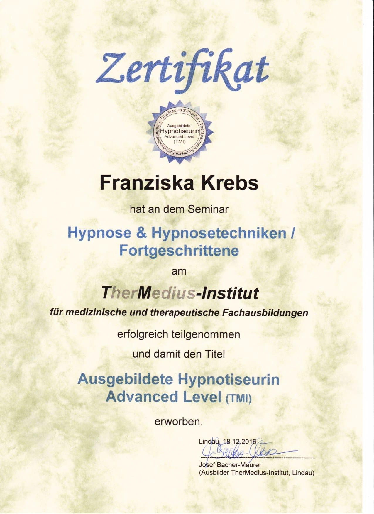 Zertifikat Hypnose & Hypnosetechniken / Fortgeschrittene