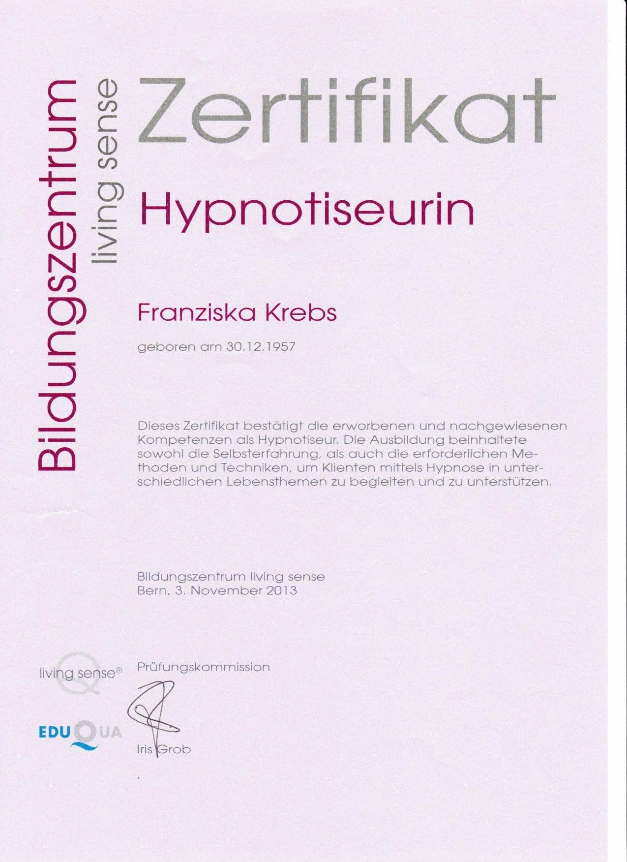Zertifikat Hypnotiserurin