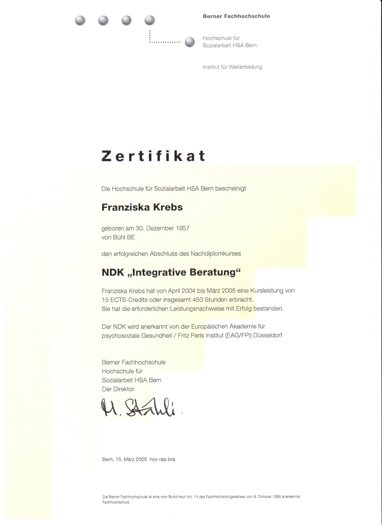 Zertifikat Integrative Beratung